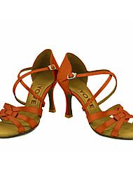 Feminino Latina Salsa Cetim Sandália Salto Profissional Apresentação Fivela Fita Salto Personalizado Azul Rosa claro Bronze Amêndoa Nú
