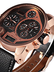 cheap -Oulm Men's Military Watch Wrist watch LED Three Time Zones Quartz PU Band Cool Casual Luxury Black Brown