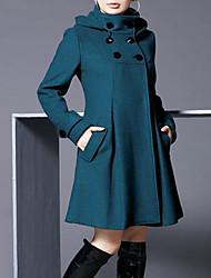 Женский На каждый день / Офис Однотонный ПальтоОчаровательный / Уличный стиль Зима Черный / Серый / Зеленый / Фиолетовый Длинный рукав,
