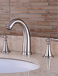 valve en céramique à mélangeurs trois trous pour le nickel brossé, salle de bains robinet d'évier