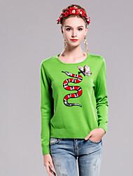 Standard Pullover Da donna-Casual Semplice Ricamato Verde Rotonda Manica lunga Altro Autunno Inverno Medio spessore Anelastico