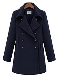 Women's Casual/Daily Simple Coat,Solid Long Sleeve Fall / Winter Blue Wool Medium
