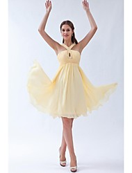 cheap -A-Line Halter Knee Length Chiffon Bridesmaid Dress with Beading Ruching by LAN TING BRIDE®