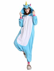 cheap -Kigurumi Pajamas Horse / Unicorn Onesie Pajamas Costume Velvet Mink Blue / Pink / Fuchsia Cosplay For Adults' Animal Sleepwear Cartoon