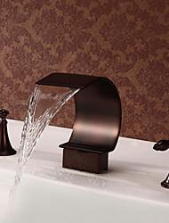 billige -Antik Vægmonteret Vandfald with  Keramik Ventil Tre Huller To Håndtag tre huller for  Olie-gnedet Bronze , Badekarshaner Håndvasken