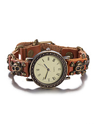 Недорогие -Жен. Модные часы Наручные часы Часы-браслет Кварцевый Защита от влаги Кожа Группа Винтаж Череп Богемные Кольцеобразный Коричневый