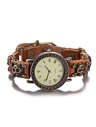 cheap -Women's Fashion Watch Wrist watch Bracelet Watch Quartz Water Resistant / Water Proof Leather Band Vintage Skull Bohemian Bangle Brown