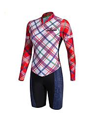 baratos -Malciklo Mulheres Manga Longa Camisa com Shorts para Ciclismo Moto Conjuntos de Roupas, Tapete 3D, Secagem Rápida, Respirável Coolmax®, Lycra Xadrez / Quadrados / Elasticidade Alta / SBS zíperes