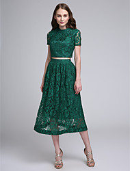 cheap -A-Line Two Piece Jewel Neck Tea Length All Over Lace Bridesmaid Dress with Lace by LAN TING BRIDE®