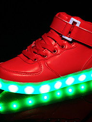 cheap -Girls' Shoes Leather Spring Fall Comfort Light Up Shoes Sneakers Hook & Loop LED for Athletic Casual Outdoor White Black Red