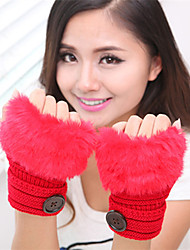 Women's Simple Fuzzy Knitwear Wrist Length Half Finger Cute/ Party/ Casual Winter Gloves