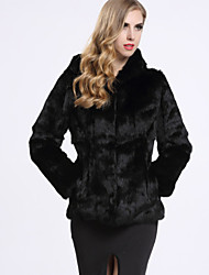 cheap -BF-Fur Style Women's Vintage Fur Coat-Solid Colored