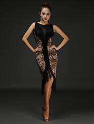 economico -Balli latino-americani Vestiti Per donna Prestazioni Cotone / Chinlon Nappa / A fantasia Senza maniche Naturale Abito