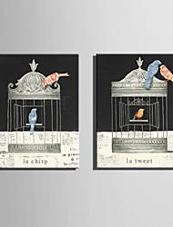 canvas Set Animal Estilo Europeu,2 Painéis Tela Vertical Impressão artística wall Decor For Decoração para casa