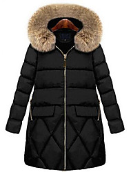 cheap -Women's Padded Coat,Simple Casual/Daily Plus Size Solid-Polyester Polypropylene Long Sleeve Black