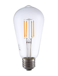 E26 LED Filament Bulbs ST19 4 COB 325 lm Warm White 2400 K Dimmable Decorative AC 110-130 V