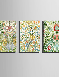 E-HOME Stretched Canvas Art Vine Flower Boat Decoration Painting  Set Of 3