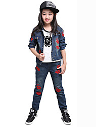 cheap -Girls' Daily Sports School Embroidered Jeans,Cotton Spring Fall Long Sleeve Cartoon Blue