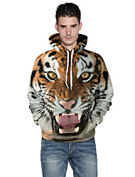 cheap -Men's Plus Size Long Sleeves Loose Hoodie - 3D Print Round Neck