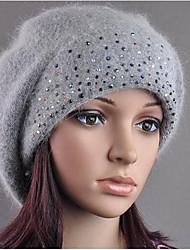 Da donna Autunno Inverno Pelliccia di coniglio Casual A falda larga,Solidi