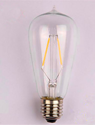 economico -1pc 2W 200lm E26 / E27 Lampadine LED a incandescenza ST58 2 Perline LED COB Decorativo Bianco caldo 220-240V