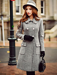 DABUWAWA Women's Going out / Casual/Daily / Work Vintage / Street chic / Sophisticated CoatSolid Hooded Long Sleeve Fall / Winter Wool Coat