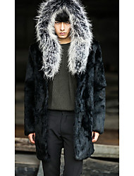 Men's Going out / Casual/Daily Vintage Fur Coat,Solid Shirt Collar Long Sleeve Winter Black Faux Fur Thick