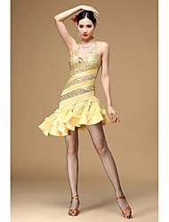 cheap -Latin Dance Dresses Women's Performance Polyester Paillettes 1 Piece Sleeveless High Dress
