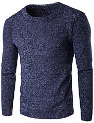 Normal Pullover Homme Vacances Décontracté / Quotidien simple,Couleur Pleine Col Arrondi Manches Longues Coton Automne Hiver Epais