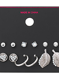 6 Pairs/Set Steampunk Gothic Style Earrings Set Round Square Ball Bead Crystal Leaf Stud Earrings For Women Gifts brincos