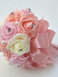 economico -Bouquet sposa Bouquet Matrimonio Party /serata Raso Schiuma 22 cm ca.