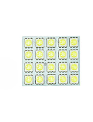 2X   White 5050 LED 20 SMD Panel Map Dome Interior Light+ Festoon T10 BA9S Adapter
