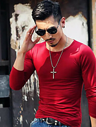 cheap -Men's Daily Sports Casual T-shirt,Solid Round Neck Long Sleeves Cotton
