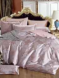 Bedtoppings 4pcs Set Queen 1 Comforter Duvet Quilt Cover/1 Flat Sheet/2 Pillowcase Jacquard Pattern Cotton Rich Blend Poly