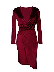 Gaine Robe Femme Soirée Sexy,Couleur Pleine V Profond Mi-long Manches Longues Bleu Rose Rouge Gris Polyester Automne Hiver Taille Normale