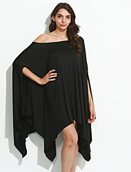 cheap -Women's Off The Shoulder Solid Blue/Red/Black/Green/Yellow/Purple Dress,Casual/Party Round Neck ½ Length Sleeve