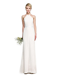 cheap -Sheath / Column Halter Floor Length Lace Bridesmaid Dress with Sash / Ribbon by LAN TING BRIDE®