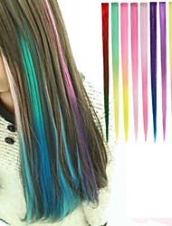 cheap -Long Synthetic Straight And Clip in Hair Extensions with 1 Clips 10 Color Available