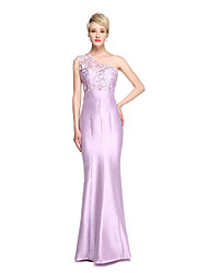 cheap -Mermaid / Trumpet One Shoulder Floor Length Lace Satin Bridesmaid Dress with Lace by LAN TING BRIDE®