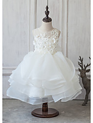 cheap -Princess Knee Length Flower Girl Dress - Organza Satin Tulle Sleeveless Jewel Neck with Beading by LAN TING Express