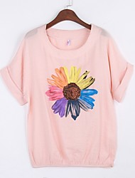 abordables -Mujer Noche Algodón Camiseta Floral Manga Murciélago