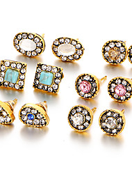 Women's Stud Earrings Turquoise Crystal Synthetic Sapphire Synthetic Emerald Rhinestone Crystal Rhinestone Gold Plated Turquoise Jewelry