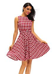 Dame Vintage I-byen-tøj Afslappet/Hverdag Skater Kjole Ternet,Rund hals Knælang Uden ærmer Blå Rød Polyester Spandex Sommer Højtaljede