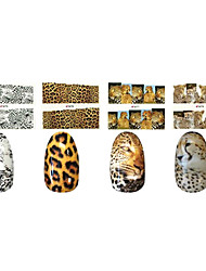 1x10PCS animal da pele do leopardo Sery Full-Capa Nail Stickers (padrões variados)