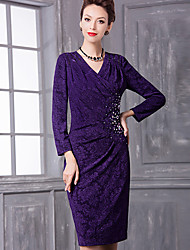 Women's Lace Plus Size / Formal Simple Sheath Dress,Solid V Neck Knee-length Long Sleeve Purple Polyester Spring / Fall Mid Rise Micro-elastic