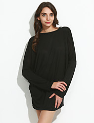 cheap -Women's Daily Plus Size Casual Spring T-shirt,Solid Round Neck U Neck Long Sleeves Cotton Thin