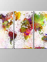 VISUAL STAR®3 Panels Framed Abstract World Map Wall Art Maps Painting Pictures Print On Canvas For Home Modern Decoration