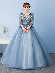 Ball Gown Princess V-neck Floor Length Tulle Formal Evening Dress with Appliques Lace by Beautiful Life