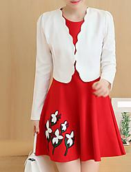 preiswerte -Damen Druck Einfach Lässig/Alltäglich Wickeln Rock Anzüge,Rundhalsausschnitt Herbst Langarm Rot Schwarz Polyester Mittel