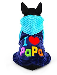 Dog Clothes/Jumpsuit Blue Rose Dog Clothes Winter Letter & Number Cute Fashion Keep Warm